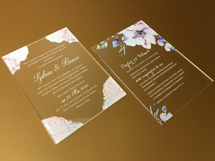 Egyedi plexi esküvői meghívó